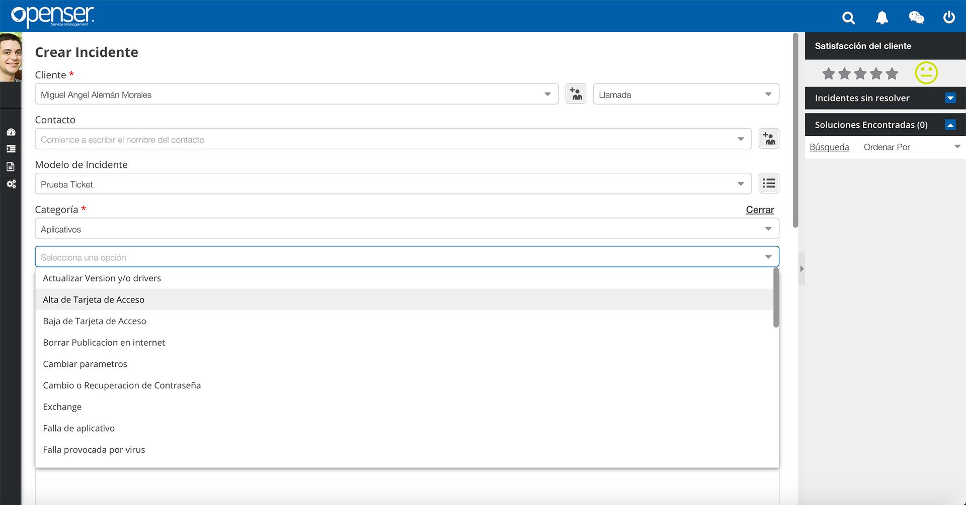 Registro de Incidentes - Openser